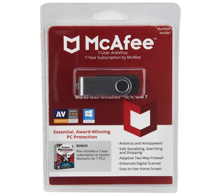 McAfee AntiVirus Plus, System Mechanic 7yr PC Tune Up For 7 Users