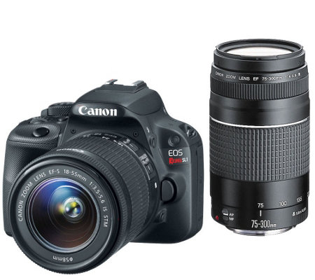 Canon Rebel SL1 18MP DSLR w/ 18-55mm & 75-300mm USM Lenses & Accs.