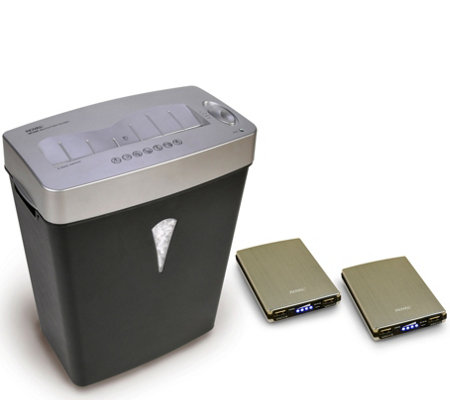 Royal MC500 5-Sheet Microcut Shredder & Two Portable Chargers