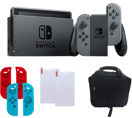 Nintendo Switch - Gray with Silicone Sleeves &Accessories