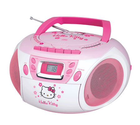Hello Kitty KT2028A Stereo CD Boombox with Cassette Player