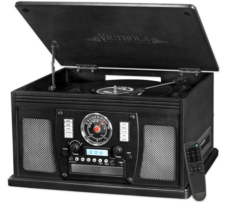 Victrola Wooden 8-in-1 Bluetooth Record Player