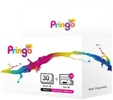 Pringo Portable Printer 30 Pack Paper Refill & Ink