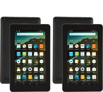 "Amazon Fire 2-Pack of 7"" Tablets with 2 Cases and 2 App Bundles - E229632"