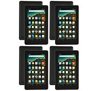 "Amazon Fire 4-Pack of 7"" Tablets with 4 MatchingCases & 4 App Bundles - E229633"