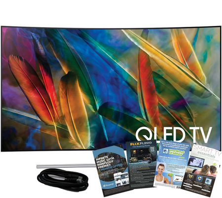 "Samsung 55"" QLED Smart Curved 4K HDR TV w/ HDMIand App Pack"