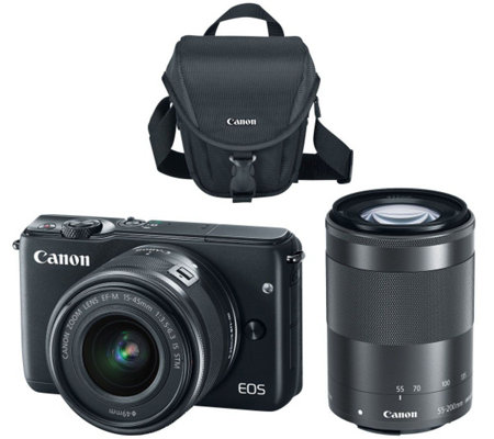 Canon EOS M10 Mirrorless 18MP Wi-Fi Camera w/ 15-45mm STM & 55-200mm Lenses