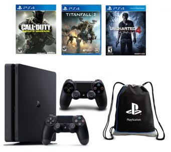 Sony PS4 500GB Slim Bundle with 2 Controllers and 3 Games - E290035