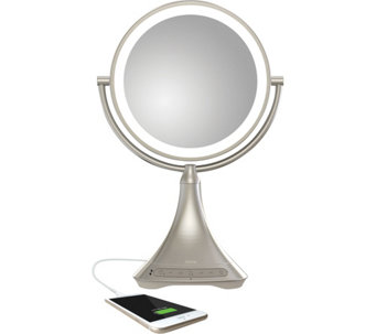 "iHome 9"" Double-Sided Vanity Mirror Bluetooth Audio & USB Charging - E229039"