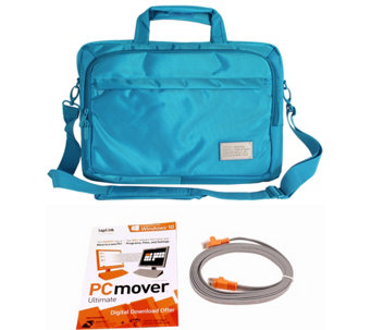 "ToteIt! Deluxe 15"" Laptop Case w/ Laplink PC Mover Pro, & Transfer Cable - E229640"