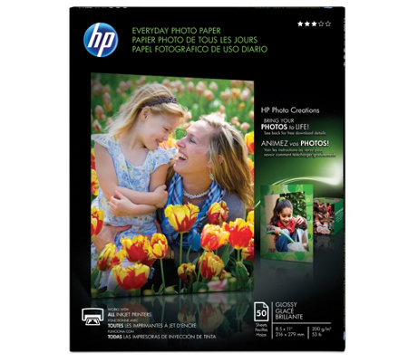 HP 50-Count Everyday Photo Paper, Glossy, A, 8.5x11""