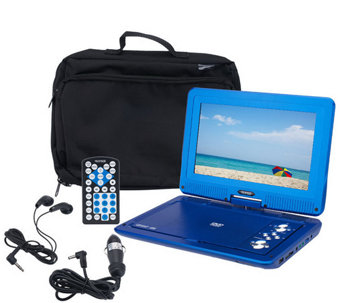 "MaxMade 10.1"" Widescreen LCD DVD Playerw/ Accs. & Bag - E281441"