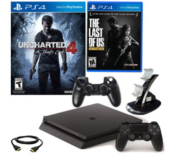 PS4 Slim 500GB Uncharted 4 Bundle with The Last of Us & Accs. - E289942