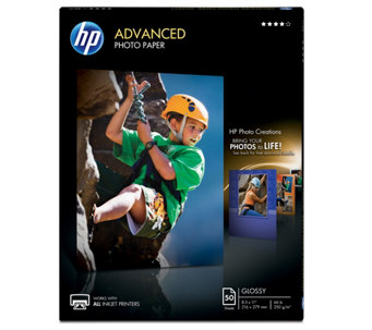"HP Advanced Photo Paper, Glossy, 8.5"" x 11"" - 50 ct - E290242"