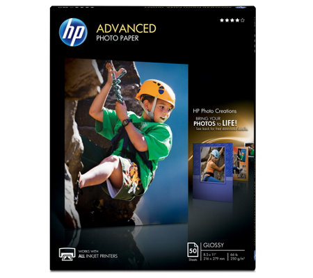 "HP Advanced Photo Paper, Glossy, 8.5"" x 11"" - 50 ct"