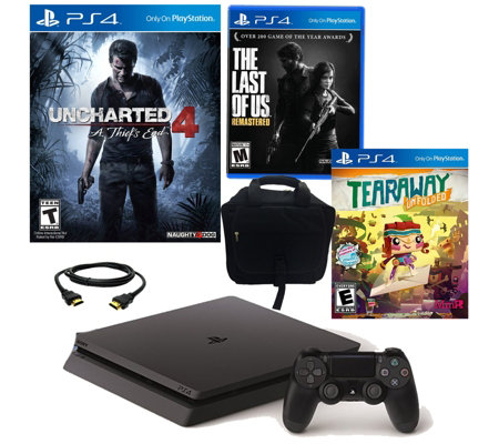 PS4 Slim 500GB Uncharted 4 Bundle with 3 Games& Accessories