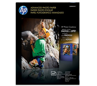 "HP Advanced Photo Paper, Glossy, 5"" x 7"" - 60 ct - E290244"