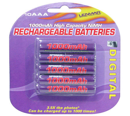 Lenmar PRO1010 AAA NiMH Rechargeable Batteries-10-Pack