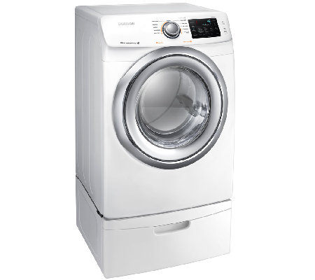 Samsung 7.5 Cu.Ft. Electric Dryer w/ Steam & Pedestal - White