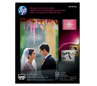 "HP Premium Plus Photo Paper, Glossy, A, 8.5"" x11"" -25 ct - E290246"