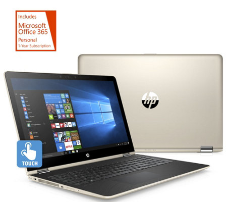 "HP 15"" x360 Touch 2-in-1 Laptop, Backlit Intel, 1TB HDD w/ Office 365"