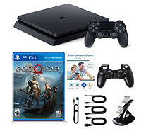 Sony PS4 Slim 1 TB with God of War Game, Voucher & Dual Charger - E232048