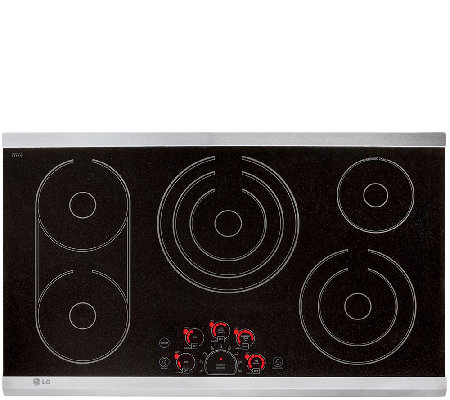 "LG 36"" Stainless Steel Trim Electric Radiant Glass Cooktop"
