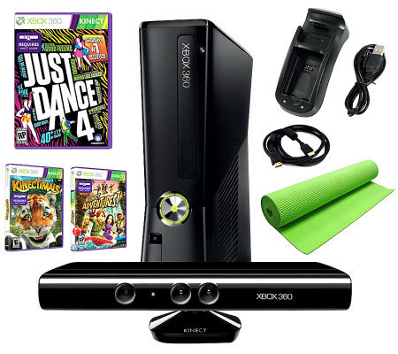 Xbox 360 Slim 4GB Kinect Bundle with Just Dance4 and More