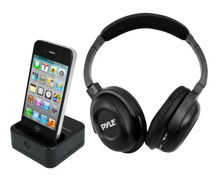 Pyle Wireless Headphones with iPhone/iPod DockTransmitter
