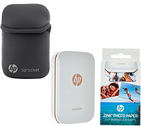 "HP ""Sprocket"" Portable Photo Printer for Devices w/Case Paper & SkinIt - E230654"