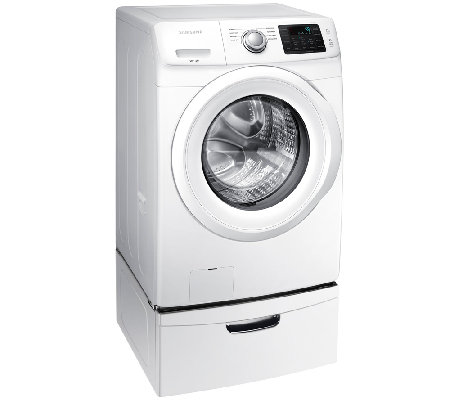 Samsung 4.2 CuFt Front Load Washer w/ Steam &Pedestal - White