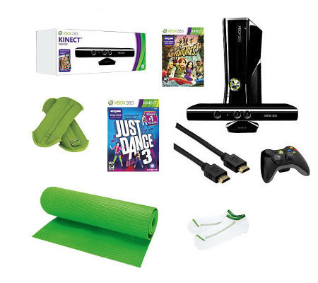 Xbox 360 4gb kinect bundle w 2 games yoga mat socks weight - Xbox 360 console kinect bundle ...