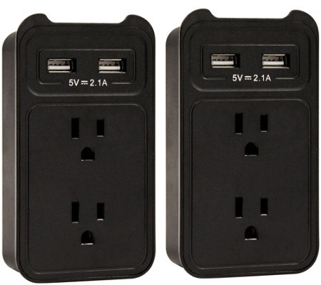 Set of (2) ChargeIt! USB Wall Charger Outlet Valet