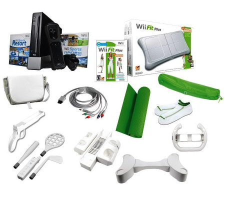 Nintendo Wii Gaming Console w/Wii Fit Plus Fitness Bundle, & Resort Bundle