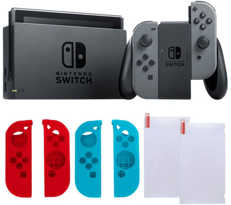 Nintendo Switch Gray with Silicone Sleeves & Screen Protector