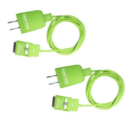 iKeep Set of 2 6 Ft Cellphone or Electronic Device Cable w/ Wall Plug
