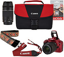 Canon Rebel T6 18MP DSLR WiFi Camera w/18-55, 75-300mm Lens & Premium Strap - E230664