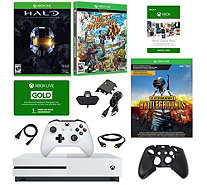 Xbox One S 1TB w/ PlayerUknowns, Halo & SunsetOverdrive Games - E294065