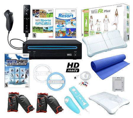 Nintendo Wii Black Sports Bundle With Wii Fit Plus And ...