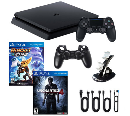 PS4 1TB Slim Console with Uncharted 4 andAccessories