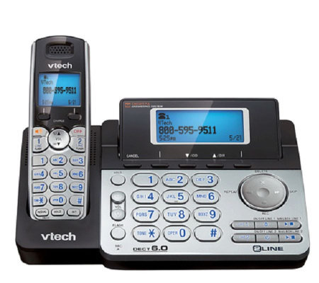 Vtech DECT 6.0 2-Line Cordless Phone, Digital Answering Syste