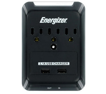 Energizer 3-Outlet Wall Tap + 2 USB Ports - E266868