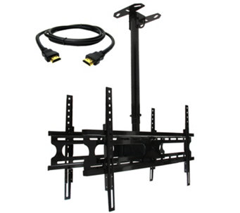"MegaMounts 2-TV Double Ceiling Mount 37"" to 70""& HDMI Cable - E287470"