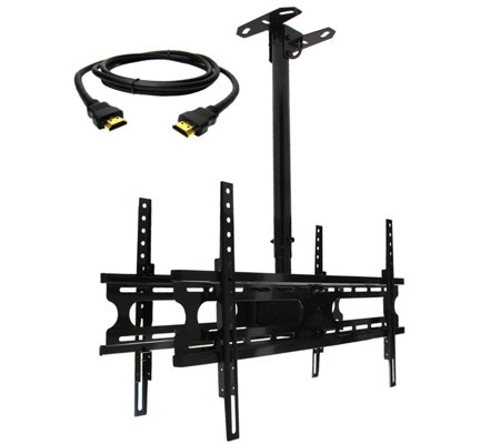 "MegaMounts 2-TV Double Ceiling Mount 37"" to 70""& HDMI Cable"