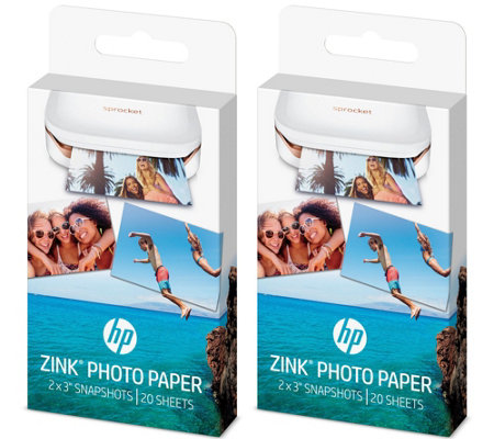HP Zink Photo Paper for Sprocket PortablePrinter 40 Sheets