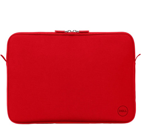 "Dell 15"" Red Neoprene Sleeve Carry & Protect w/ Soft Lining, Metal Zipper"