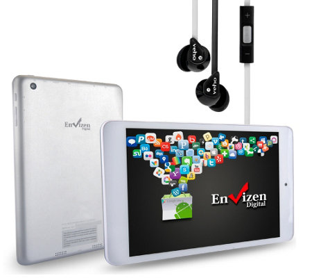 "Envizen 7.85"" Quad-Core, 8GB, Android Tablet with Earbuds"