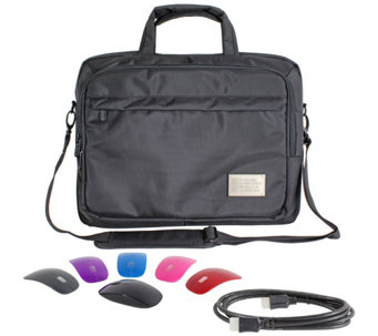 "ToteIt! Deluxe 17"" Laptop Case w/ Switch Lid Wireless Mouse & 6' HDMI Cable - E228573"