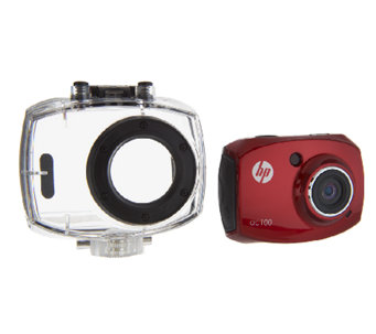 "HP AC100 Action Camera w/ 1080P HD 2.4"" LCD & Waterproof Case - E224975"