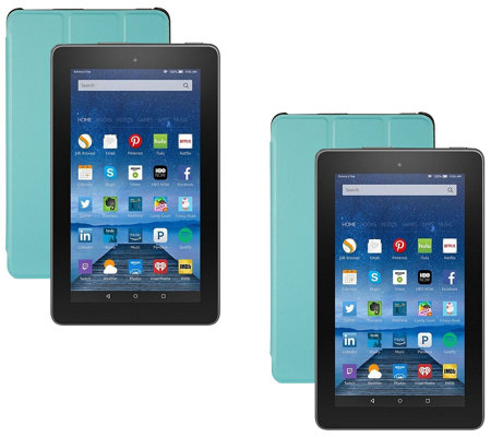 "Amazon Fire 2-Pack of 7"" Tablets 16GB w/ Alexa, 2 Cases & 2 App Bundles"